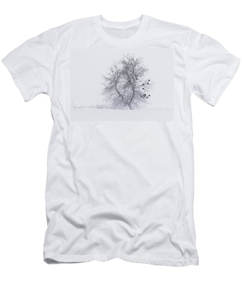Crows On Tree In Winter Snow Storm Men's T-Shirt (Athletic Fit)