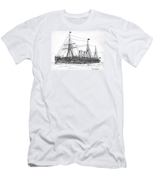 Men's T-Shirt (Slim Fit) featuring the drawing Cunard Liner Umbria 1880's by Ira Shander