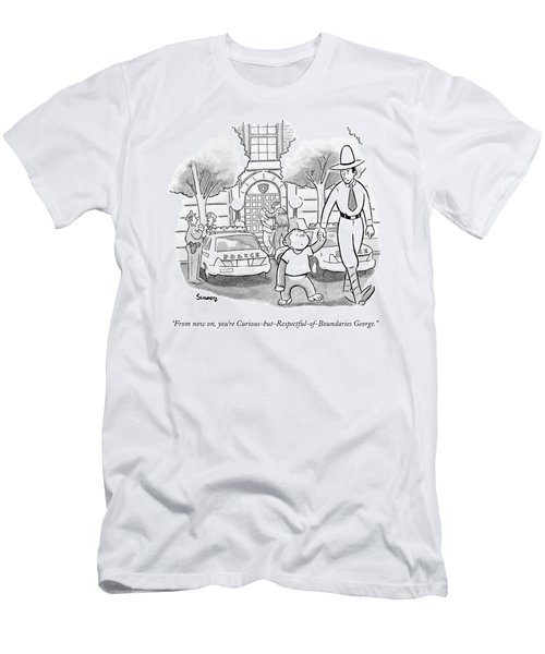 Curious George Is Escorted Out Of A Police Men's T-Shirt (Athletic Fit)