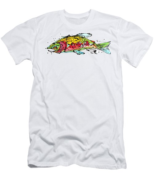 Men's T-Shirt (Slim Fit) featuring the painting Cutthroat Trout by Nicole Gaitan