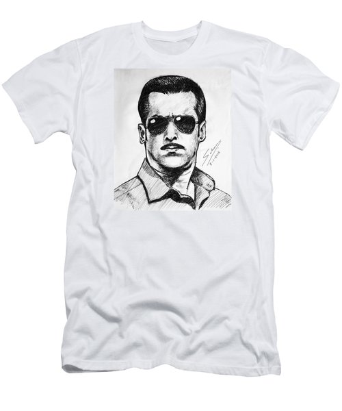 Men's T-Shirt (Slim Fit) featuring the painting Salman Khan by Salman Ravish