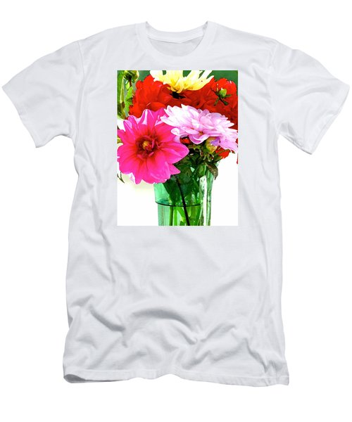 Men's T-Shirt (Slim Fit) featuring the photograph Dahlias In The Sun by Lehua Pekelo-Stearns