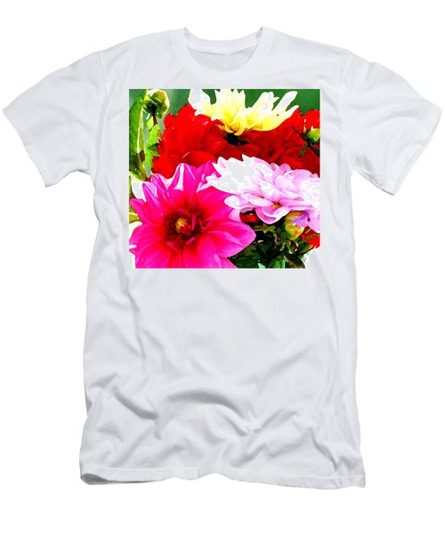 Men's T-Shirt (Slim Fit) featuring the photograph Dahlias  by Lehua Pekelo-Stearns