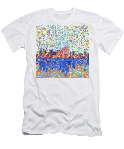 Dallas Skyline Abstract 5 Men's T-Shirt (Slim Fit)