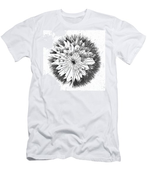 Men's T-Shirt (Athletic Fit) featuring the digital art Dandylion Black On White by Clayton Bruster