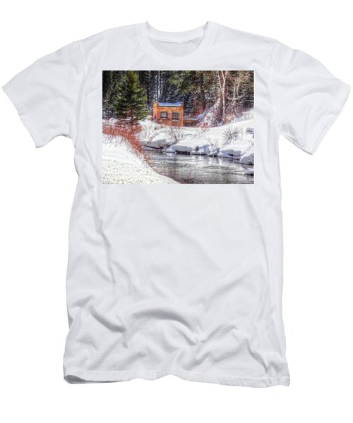 Men's T-Shirt (Slim Fit) featuring the photograph Deep Snow In Spearfish Canyon by Lanita Williams