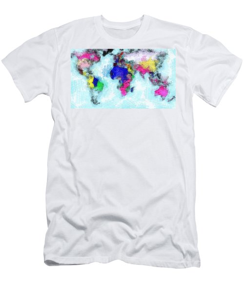 Men's T-Shirt (Slim Fit) featuring the painting Digital Art Map Of The World by Georgi Dimitrov