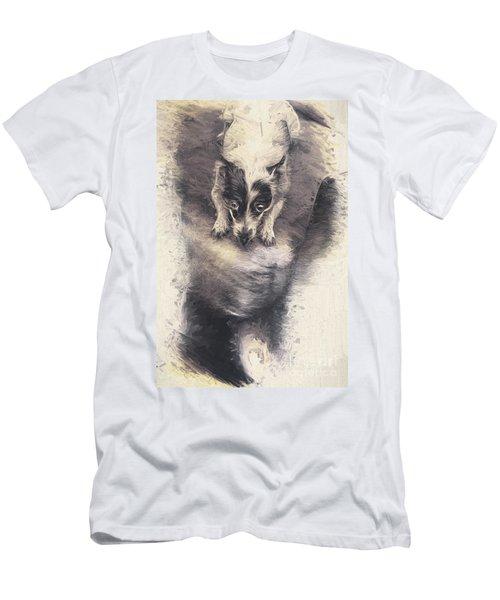 Digital Artwork Of A Mini Fox Terrier Dog Men's T-Shirt (Athletic Fit)