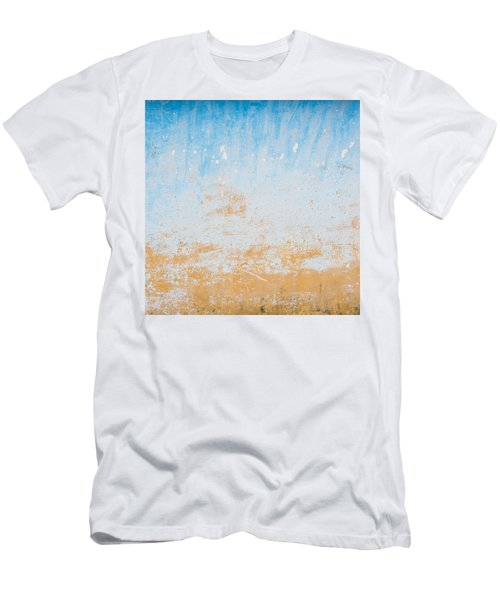 Dilapidated Beige And Blue Wall Texture Men's T-Shirt (Athletic Fit)
