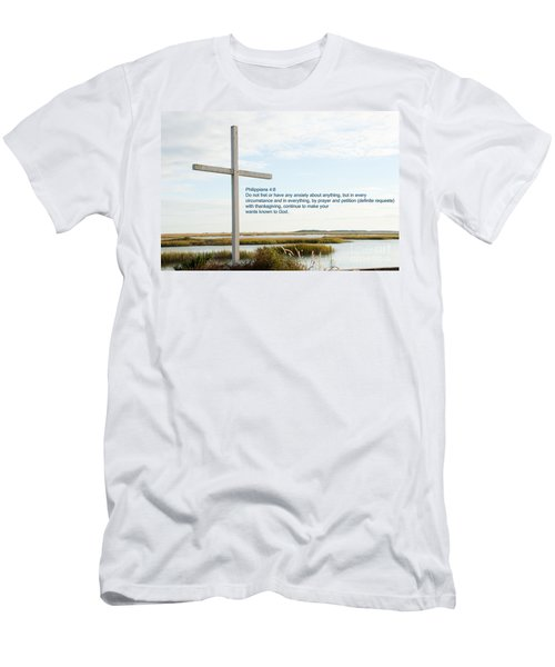 Belin Church Cross At Murrells Inlet With Bible Verse Men's T-Shirt (Athletic Fit)