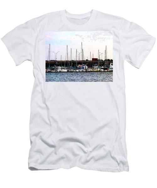 Docked Boats Norfolk Va Men's T-Shirt (Slim Fit) by Susan Savad