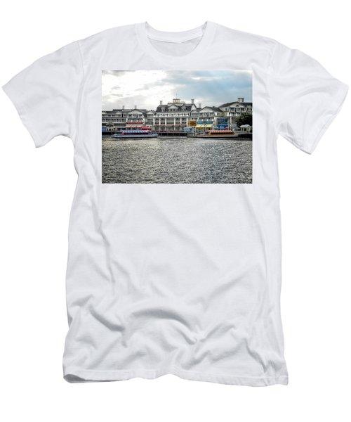 Docking At The Boardwalk Walt Disney World Men's T-Shirt (Slim Fit) by Thomas Woolworth