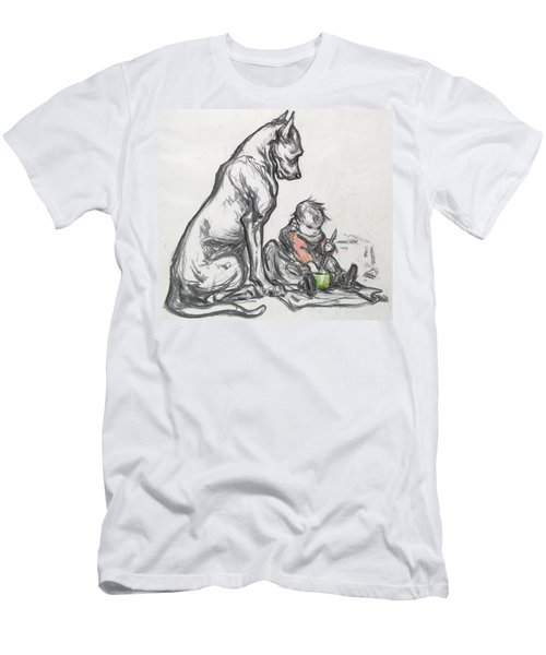 Dog And Child Men's T-Shirt (Athletic Fit)
