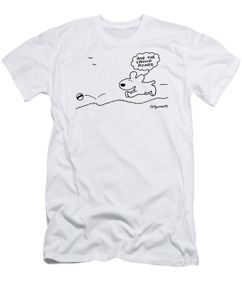 Dog Chases After A Ball Men's T-Shirt (Athletic Fit)