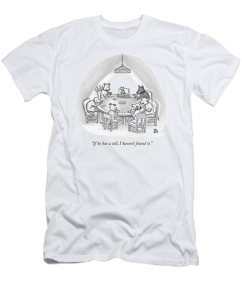 Dogs Playing Poker Refer Angrily To A Cat Who Men's T-Shirt (Athletic Fit)