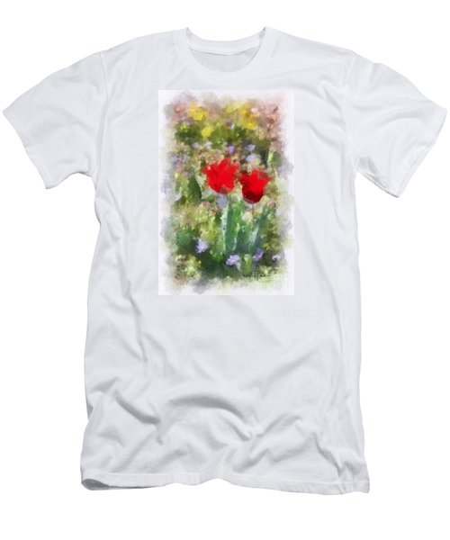Men's T-Shirt (Slim Fit) featuring the painting Dressed In Red  by Kerri Farley