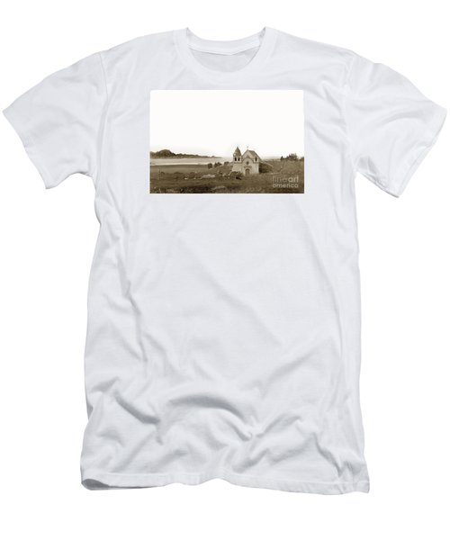 Early Carmel Mission And Point Lobos California Circa 1884 Men's T-Shirt (Slim Fit) by California Views Mr Pat Hathaway Archives