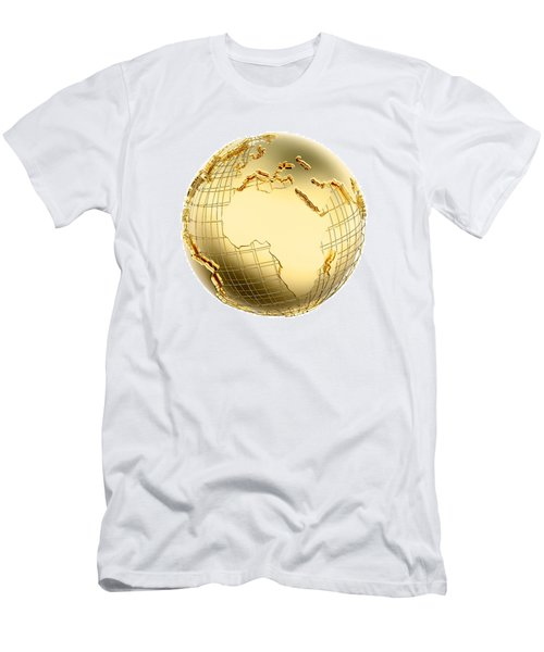 Earth In Gold Metal Isolated - Africa Men's T-Shirt (Athletic Fit)