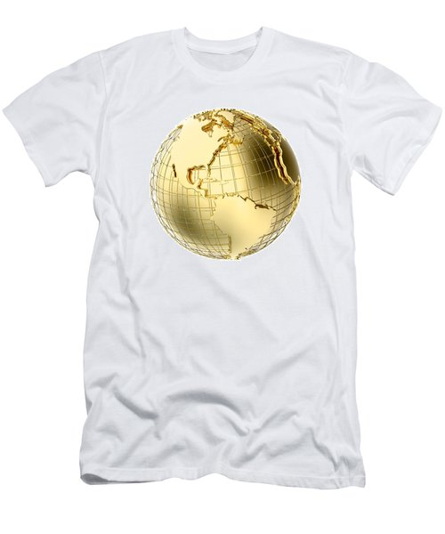 Earth In Gold Metal Isolated On White Men's T-Shirt (Slim Fit) by Johan Swanepoel