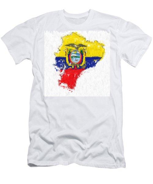 Ecuador Painted Flag Map Men's T-Shirt (Slim Fit) by Antony McAulay