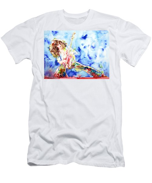 Eddie Van Halen Playing The Guitar.1 Watercolor Portrait Men's T-Shirt (Slim Fit) by Fabrizio Cassetta