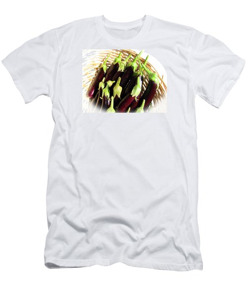 Men's T-Shirt (Slim Fit) featuring the photograph Eggplants In A Basket by Tina M Wenger
