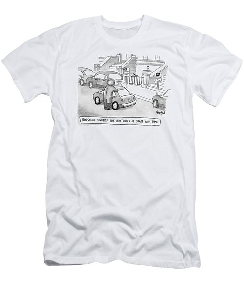 Einstein Is Seen Standing Next To A Parked Car Men's T-Shirt (Athletic Fit)