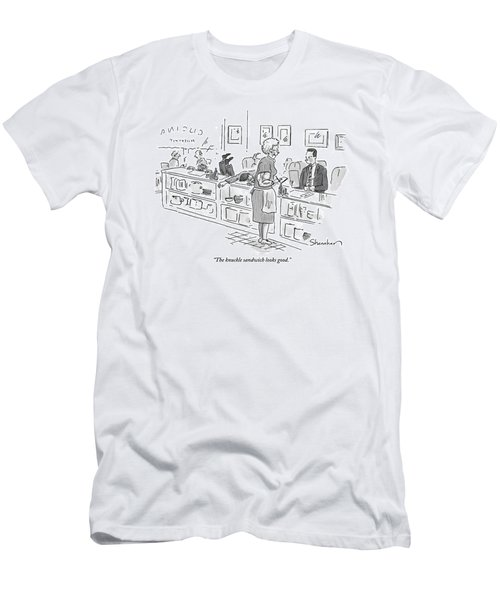 Elderly Waitress With Enormous Biceps Stands Men's T-Shirt (Athletic Fit)