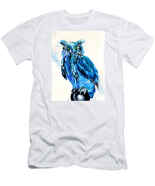 Men's T-Shirt (Slim Fit) featuring the painting Electric Blue Owl by Beverley Harper Tinsley