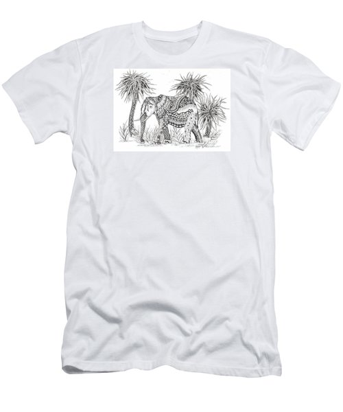 Elephant And Trees Zentangled Men's T-Shirt (Athletic Fit)