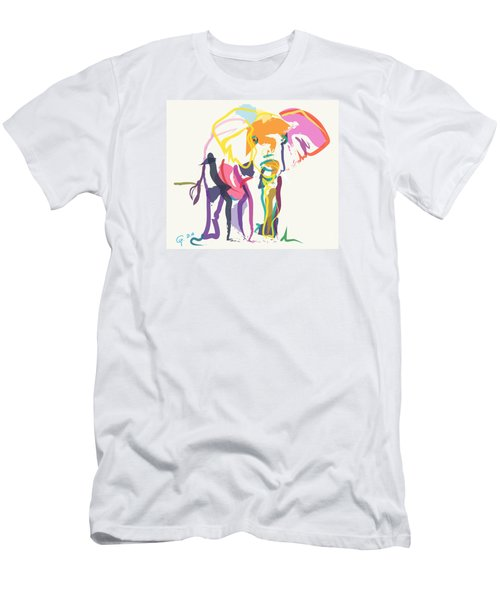 Men's T-Shirt (Slim Fit) featuring the painting Elephant In Color Ecru by Go Van Kampen