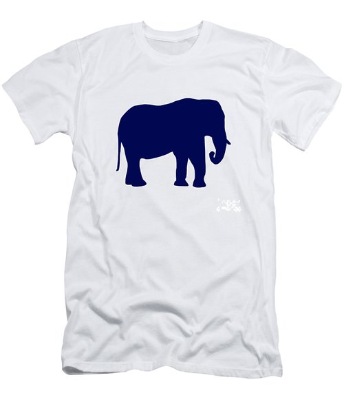 Elephant In Navy And White Men's T-Shirt (Athletic Fit)