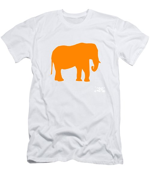 Elephant In Orange And White Men's T-Shirt (Athletic Fit)