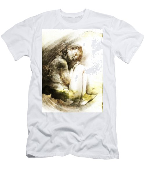 Men's T-Shirt (Slim Fit) featuring the drawing Embryonic Drawing Textured by Paul Davenport