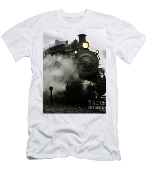 Engine Number 40 Making Steam Pulling Into New Hope Passenger Train Terminal Men's T-Shirt (Slim Fit) by Michael Hoard