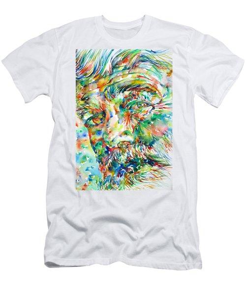Ernest Hemingway Watercolor Portrait.1 Men's T-Shirt (Slim Fit) by Fabrizio Cassetta