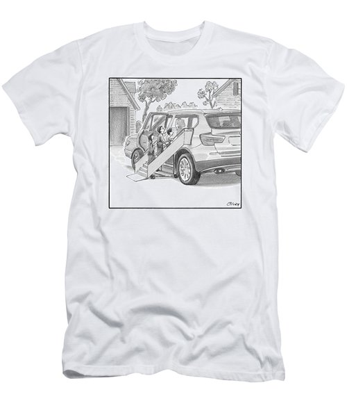 Family Entering Their Suv With The Aid Of A Large Men's T-Shirt (Athletic Fit)