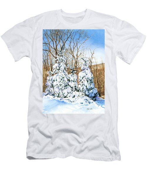 Men's T-Shirt (Slim Fit) featuring the painting Family Of Four Trailside At 7 Springs by Barbara Jewell