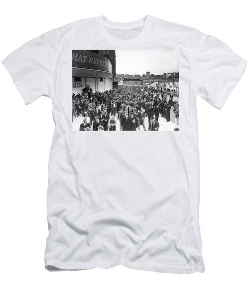 Fans Leaving Yankee Stadium. Men's T-Shirt (Slim Fit) by Underwood Archives