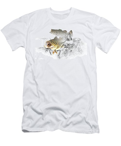 Feeding Largemouth Black Bass Men's T-Shirt (Slim Fit) by Randall Nyhof