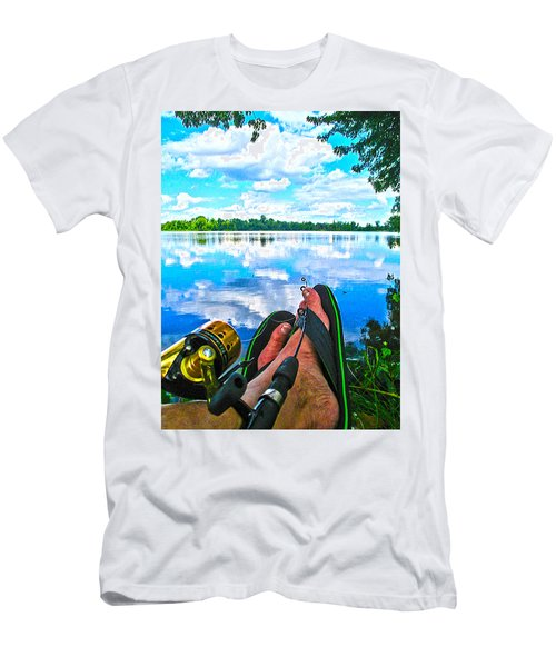 Feet Up Fishing Crab Orchard Lake Men's T-Shirt (Athletic Fit)