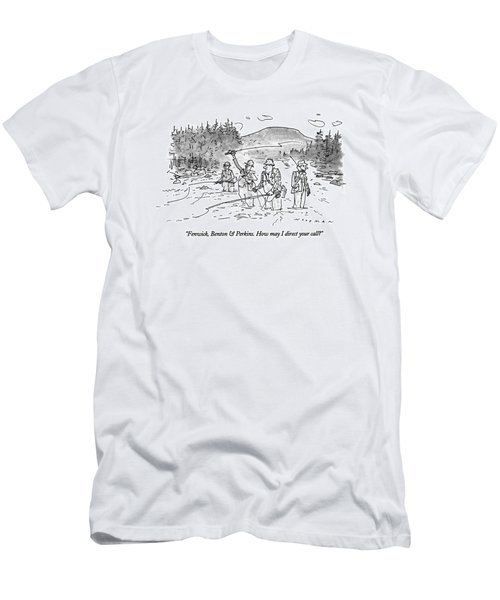 Fenwick, Benton & Perkins. How May I Direct Men's T-Shirt (Athletic Fit)