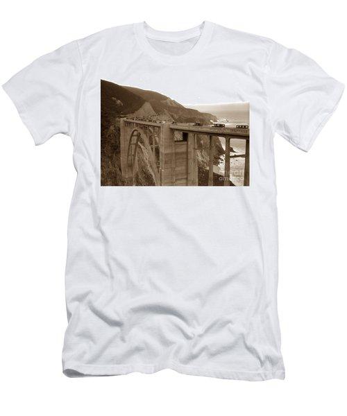 First Cars Across Bixby Creek  Bridge Big Sur California  Nov. 1932 Men's T-Shirt (Athletic Fit)