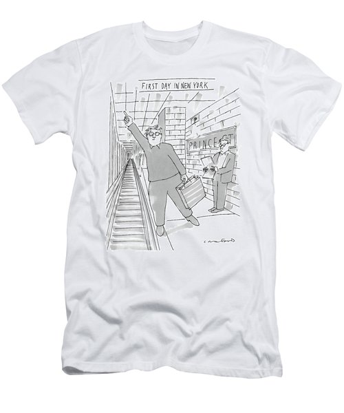 First Day In New York -- A Man On A Subway Men's T-Shirt (Athletic Fit)