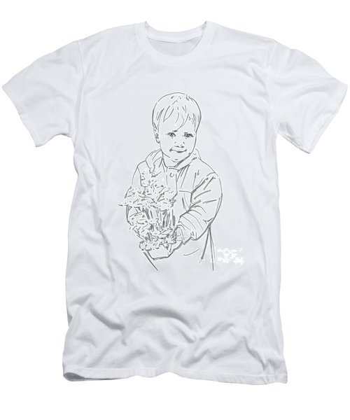 Men's T-Shirt (Slim Fit) featuring the drawing First Time Growing Strawberries  by Olimpia - Hinamatsuri Barbu