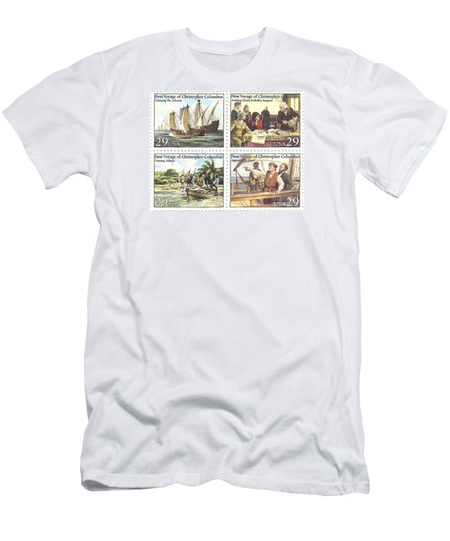 First Voyage Of Christopher Columbus Commemorative Stamp Block Men's T-Shirt (Athletic Fit)