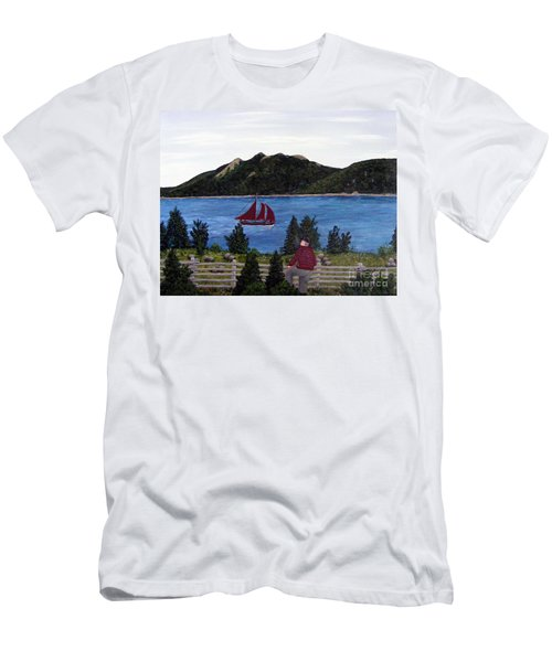 Men's T-Shirt (Slim Fit) featuring the painting Fishing Schooner by Barbara Griffin