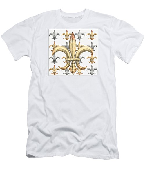 Fleur De Lys Silver And Gold Men's T-Shirt (Slim Fit) by Barbara Chichester