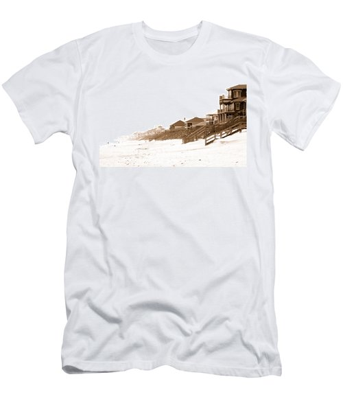 Florida Beach Sepia Print Men's T-Shirt (Athletic Fit)