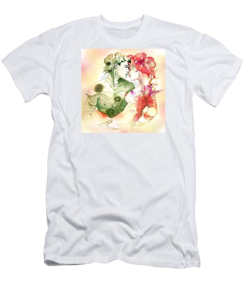 Men's T-Shirt (Slim Fit) featuring the painting Flower And Leaf by Anna Ewa Miarczynska